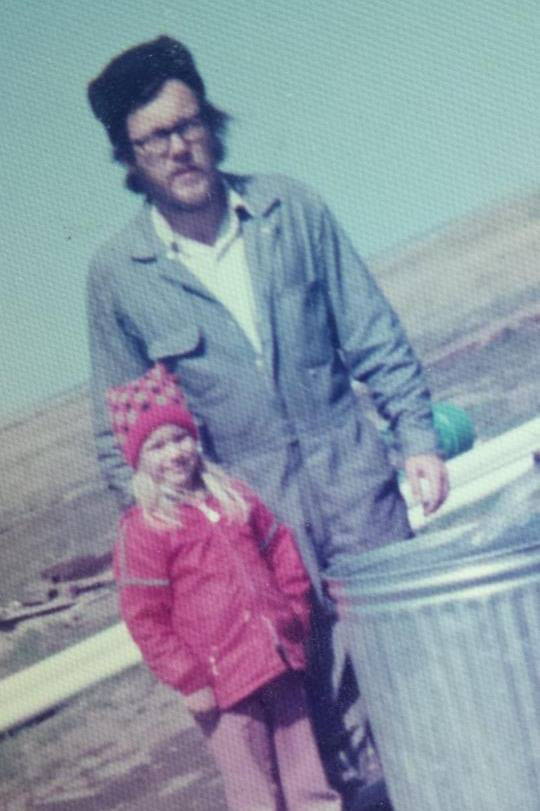 Dad and I, 4/20/1975, the day we struck water.